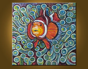 Clownfish and Frogspawn Coral -- 20 x 20 inch Original Oil Painting by Elizabeth Graf on Etsy -- Art Painting, Art & Collectibles