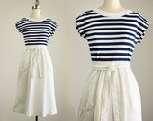 80s Vintage I Magnin Navy Blue Striped White Cotton Wrap Style Belted Day Dress / Size Small / Medium
