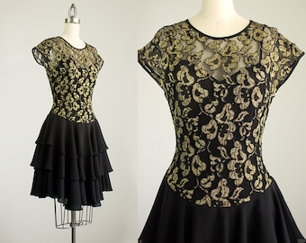 Cherie Vintage 90s Vintage Black And Gold Stretch Mesh Lace Chiffon Ruffle Dress / Size Small / Party Dress