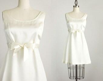 90s Vintage White Satin Bow Tie Mini Dress / Size Small / Medium