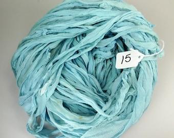 Sari silk ribbon, Silk Chiffon sari ribbon, Recycled Silk Sari Ribbon, China Blue ribbon, aqua blue ribbon, weaving supply