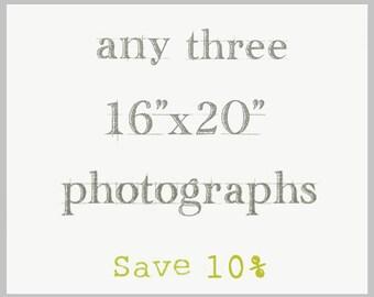 Custom Set of Three 16x20 Fine Art photographs, Oversized Large Wall Art Prints Your Choice