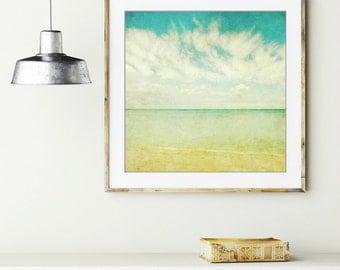 "Beach ocean photography print, aqua blue pale yellow Hawaii sea shore minimalist wall art ""Watercolor Sky"""