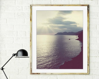 "Beach ocean photography print, dreamy seascape wall art Cinque Terra Italy  ""Distant Land"""