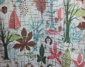 "wonderful mod 1950s 60s Waverly Fabric Woodland leaf tree pattern print vintage  47"" x 3.7 yards"