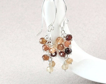Garnet   Earrings  Golden  Cluster  Earrings Gemstone Jewelry January  Birthstone Hessonite  Garnet  Jewelry Sterling Silver Handmade