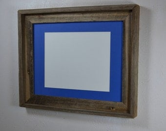 11x14 country style wood picture frame with blue 8x10 mat