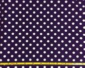 "NEW white dots on purple cotton lycra knit fabric 95/5 58"" wide."