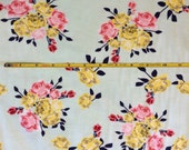 NEW Riley Blake Idle Wild Floral on mint cotton Lycra  knit fabric 1 yard