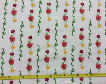 """Pretty vertical roses on cotton lycra knit fabric 58"""" wide"""