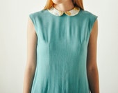 Vintage Sea Green Collared Shift Dress