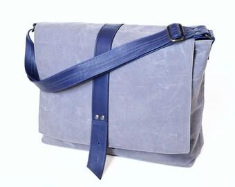 Weekender / Canvas Messenger Bag / Waxed Canvas Bag / Crossbody Bag / Waxed Canvas Laptop Bag / Shoulder Bag - The Sloane Bag in Stone