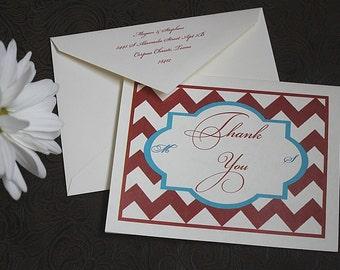 50 thank you cards Americana Boardwalk style hearts chevron Nautical LOVE red white blue flapper old timey zig zags monogram script cursive