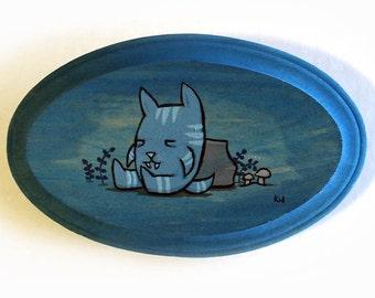 Cat Beast Painting - Original Wall Art Acrylic Miniature Painting on Wood 5x3 by Karen Watkins - Cat Creature Art - Cat Monster Wall Decor