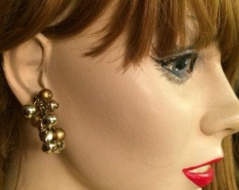 Marvella signed Unique Vintage dangle drop clip on  Earrings