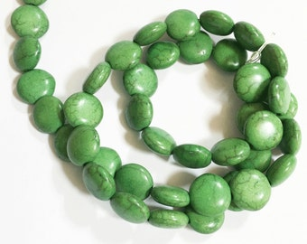 15 inch strand of Man-made Apple green Turquoise coin beads 10mm