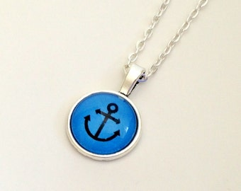 """NEW - 18mm Glass Cabochon Pendant - Nautical design - choose your color -18"""" Plated OR Ball chain"""
