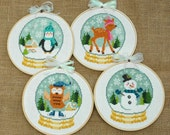 Winter Cuties Four Cross Stitch Patterns Instant Download