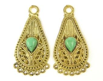 Gold Filigree Earring Findings Green Teardrop Boho Chandelier Bohemian Gypsy Jewelry Supply  GR2-6 2