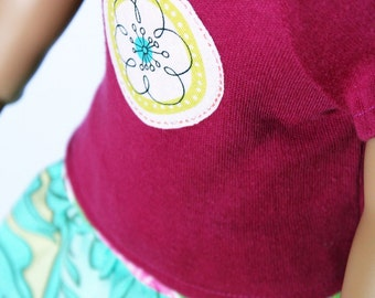 Fits like American Girl Doll Clothes - Raspberry Pink Tee and Turquoise Skirt