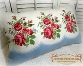 Farmhouse red roses feed sack flour sack pillow Prairie Cottage charm ECS RDT