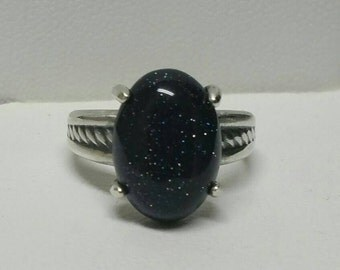 Blue Sandstone Ring, Celestial Stars Ring, Sterling Silver Ring, US Size 5 Ring, Night Sky Ring by Maggie McMane Designs