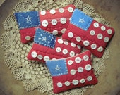 Set of Four Primitive Mini Flag Pillow Bowlfillers From Vintage Quilt Rustic Country Americana Patriotic