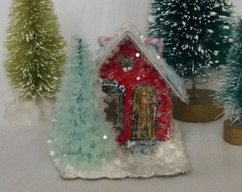 Vintage Putz Style Handmade Reproduction Tiny Miniature Red Glitter Sugar House Cottage with Pine Tree for your Christmas Village Ornament