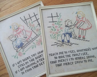 Antique Cross Stitch Pair Framed Stitchery, 1930's