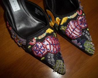 Beaded Mules, Embroidered Mules, High Heel Mules