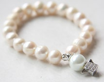 Cream Fresh Water Pearl Bracelet with Sterling Silver Pave Crystal Angel Charm (B10)