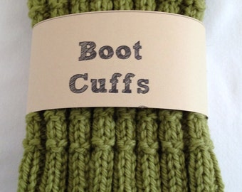 Wool Boot Cuffs Toppers Handknit Olive Green  Adult Teen Girl  Wool Warm Gift