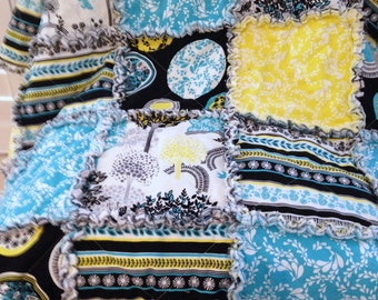 "Rag Quilt Lemon Grove Collection Rag Quilt  Blanket  Modern Rag Quilt Turquoise Yellow White Black 42"" X 50"" Cotton  Baby Toddler  Teen"
