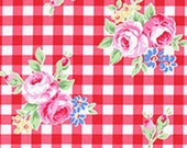 Red Pink White Gingham Plaid Rose Floral 31270 30 Fabric by Lecien Flower Sugar