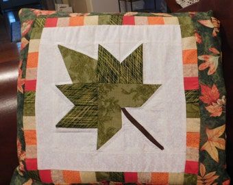 Quillow/Pillow/Lap Quilt/Lap Throw - Autumn Splendor Leaf In Green Quillow