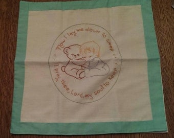 Vintage Hand Stitched Now I Lay Me Down to Sleep Embroidery Baby Pillow Case