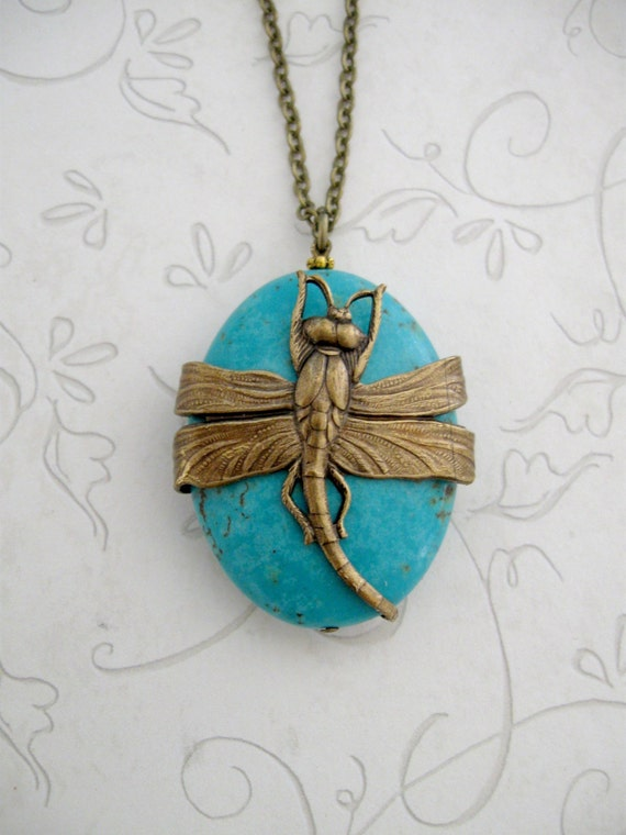 Turquoise dragonfly necklace, gemstone, long necklace, pendant, brass charm, nature gift, dragonfly jewelry