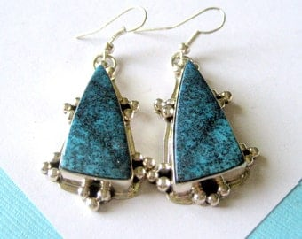 Navajo Landers Blue Turquoise and Sterling Silver Earrings by L. James