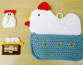 Chicken Kitchen Combo: Chicken-in-a-Basket Potholder and Two Country Kitchen Magnets of a Chicken & a Basket of Eggs. Potholder and Magnets