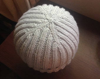 Ribbed Ice Blue Knit Wool Hat