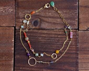 14kt Gold Double Strand Bracelet - Gold Link Bracelet - Mixed Stone Colorufl Bracelet - Boho Silk Knotted Bracelet - Dainty Gold Bracelet