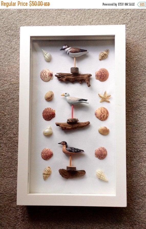 Beach theme home decor shadow box shore birds by kitscreations for Shore house decor