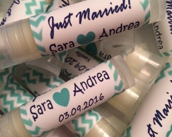 Wedding Favors, 50 Just Married Lip Balms,  Bridal Party Favors,  All Natural Lip Balms,  Personalized Labels