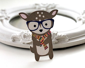 Deer in spectacles wooden brooch cute woodland glasses fawn stag