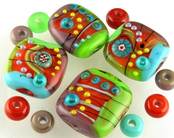 Red Lime Green Turquoise Blue Plum Purple Yellow Handmade Lampwork Glass Focal Beads Set SRA