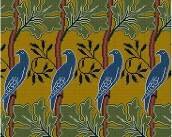 Bird and Leaf Repeating Panel Cross stitch pattern PDF Arts and Crafts Period