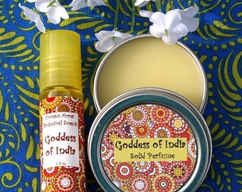 ALOHA SALE.... Perfume Set - Goddess of India Natural Perfumes, solid perfume, roll on perfume