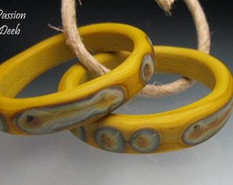 Handmade Glass Bead Rings Lampwork - 2 Mustard Tribal - Xtra Lg