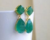 Super SALE Angelina Jolie Inspired Emerald Green Onyx Stone Gold Dangle stud Earrings