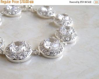 Clearance SALE Bridal Bracelet CZ Silver CNB2